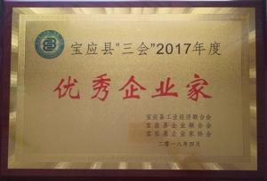 """董事长于子洲先生被县""""三会""""授予 2017年度""""优秀企业家""""称号"""