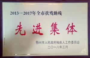 """热烈祝贺晨化股份荣获扬州市""""扶残助残先进集体"""""""